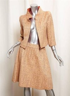 Chanel Chanel Spring 2001 Gold Orange Wool Silk Brocade Skirt Suit Outfit Sz.38