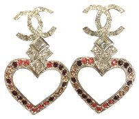 Chanel Chanel Strass Heart CC Silver Earrings Pink Crystals 2016