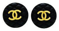 Chanel CHANEL Vintage Black Quilted Earrings with CC logo