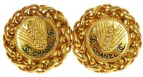 Chanel CHANEL VINTAGE CC LOGOS BUTTON EARRINGS GOLD CLIP-ON FRANCE