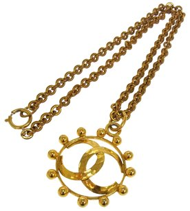 Chanel CHANEL VINTAGE CC LOGOS GOLD CHAIN PENDANT NECKLACE 25 FRANCE