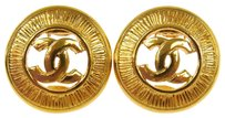 Chanel CHANEL Vintage CC Logos Gold-Tone Button Earrings Clip-On