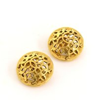 Chanel Chanel Vintage Gold Tone CC Round Earrings