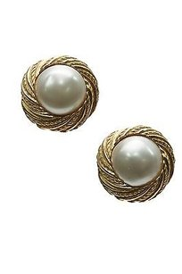Chanel Chanel Vintage Gold-tone Faux Pearl Clip-on Earrings