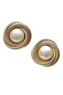 Chanel Chanel Vintage Gold-tone Faux Pearl Rope Clip-on Earrings