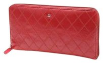 Chanel Chanel Red Quilted Leather Zip Organizer Wallet