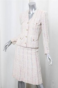 Chanel Chanel Womens Beige Cotton Tweed Sequin Jacketa-line Skirt Suit Outfit 340