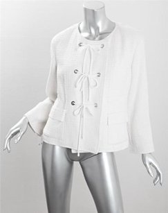 Chanel Chanel Womens Off White Ivory 07c Tweed Silkcotton Blazer Jacket Coat