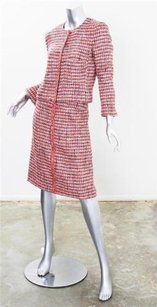 Chanel Chanel Womens Red Cotton Plaid Tweed Zip-up Jacketa-line Skirt Suit Set 364