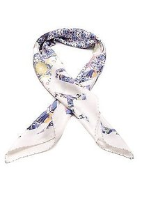 Chanel Chanel Ivory Multicolor Silk Scarf