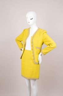 Chanel Chanel Yellowpinkblue Knit Skirt Suit Wbeaded Embellishment
