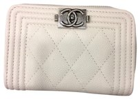 Chanel Chanel Zip Around Card Holder Wallet in White Caviar Leather Silver HW