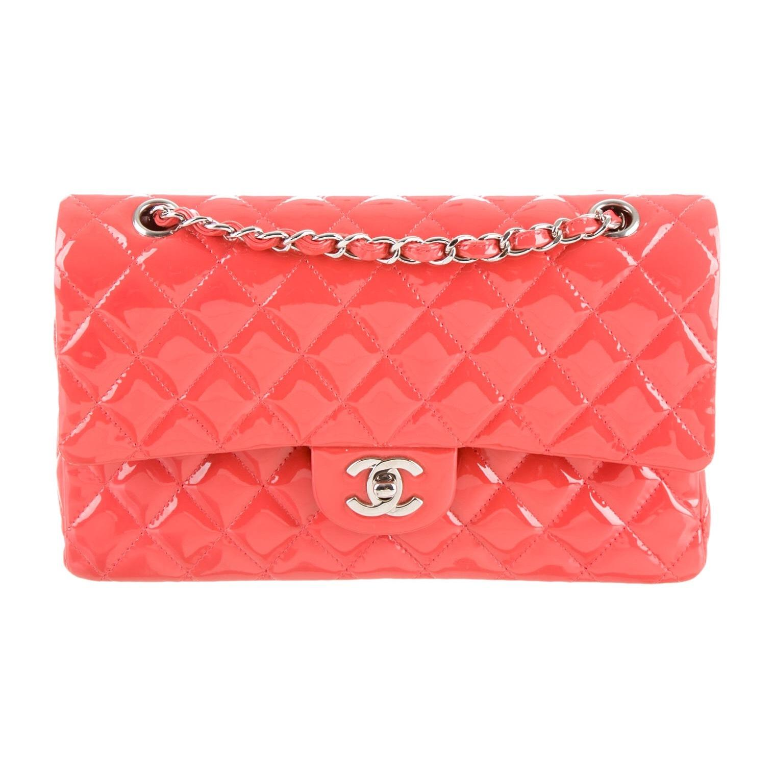 Chanel Classic Medium Double Flap In Coral Patent Leather Shoulder ...