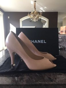 Chanel Leather Pearl Sandal Heel Beige Pumps
