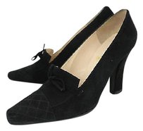 Chanel Womens Suede Heels Cap Toe Black Pumps