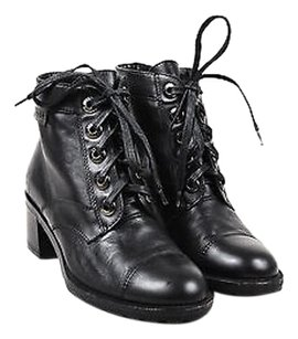 Chanel Leather Lace Up Black Boots
