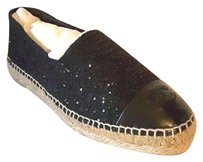 Chanel Tweed Sequence Espadrilles Black Flats