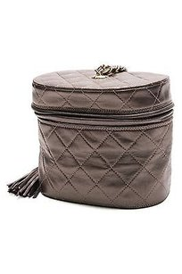 Chanel Vintage Quilted Tassel Evening Pewter Clutch