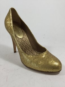 Chanel Evening Sequin Gold Pumps