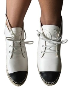 Chanel Classic White Black Boots