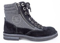 Chanel 15c Grey Canvas Gray / Black Boots