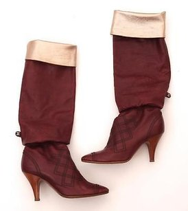 Chanel And Gold Leather Knee High Elastic Diamond Stitch High Heel Red Boots