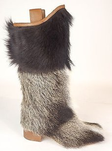 Chanel Runway 14a Goat Fur Cc High Eu Tan / Beige Boots