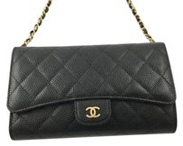 Chanel Flap Chain Caviar Leather Black Clutch
