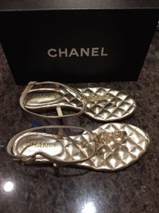 Chanel 14a Metallic Star Gold Sandals
