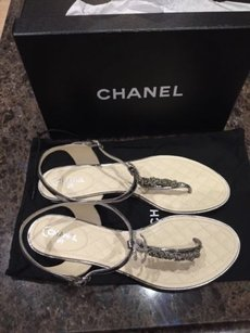 Chanel 15p Metallic Chain Crystal Flip Flop Silver Sandals