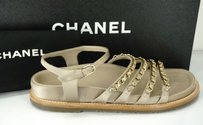 Chanel Chain O Clock Beige Sandals