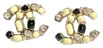 Chanel Gold Clip-on Earrings Crystal Rhinestones Black Ivory Enamel with BOX