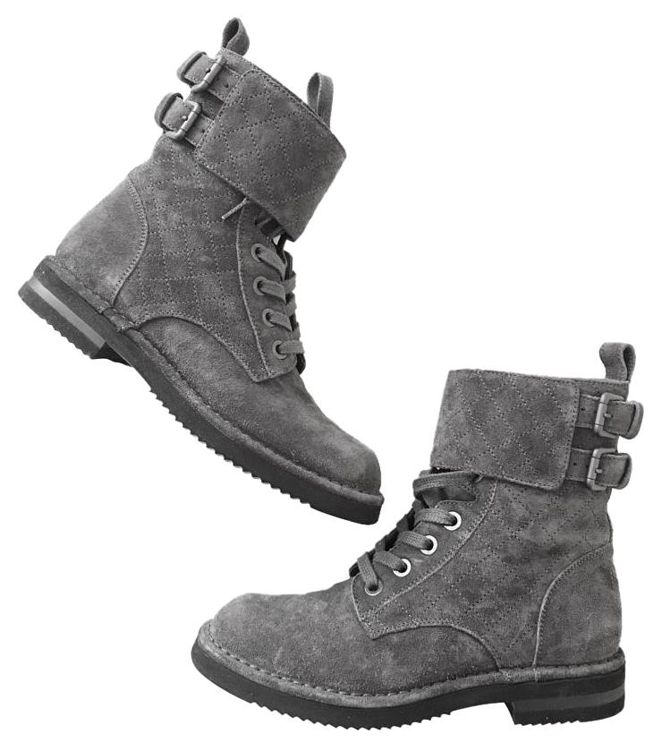 chanel quilted boots. chanel gray boots quilted