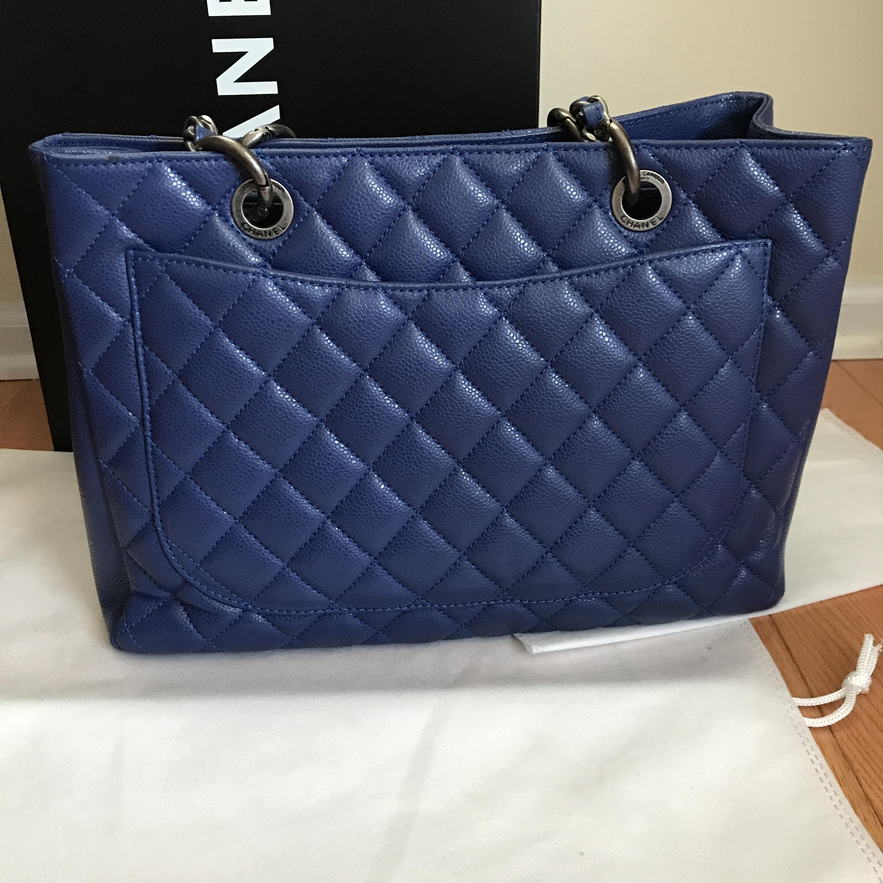 chanel blue leather shopping tote gst grand shopper tote