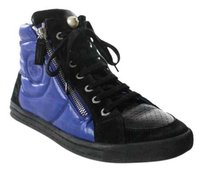 Chanel High Top Sneakers Black & Blue Athletic
