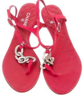 Chanel Interlocking Cc Ankle Strap Camellia Silver Hardware Charm Red, Silver Sandals