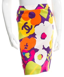 Chanel Interlocking Cc Monogram Cc Logo Floral Skirt Yellow, White, Purple, Red