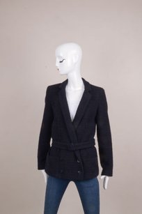 Chanel Blue Knit Belted Navy Jacket