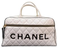Chanel Leather Boston Hand White Travel Bag
