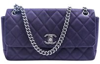 Chanel Leather Silver Hardware Chain Cross Body Bag