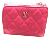 Chanel Like New Auth CHANEL Tri-fold Wallet Pink Caviar (Rare)