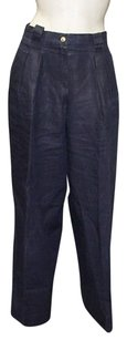 Chanel Navy Vintage Linen Trouser Hs1238 Relaxed Pants Blue