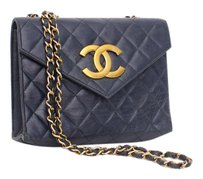 Chanel Vtg Navy Quilted Gold Cc Flap Chain Cross Body Bag