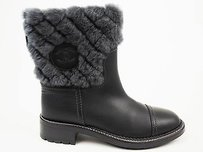 Chanel Cc Logo Quilted Shearling Black Leather Gray Boots