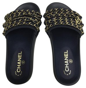 Chanel Mules Chain navy blue Flats