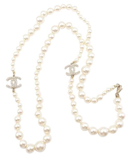 Chanel Pearl Gold Classic Cc Long Necklace Tradesy