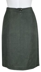Chanel Boutique Women Gray Pencil Linen Career Knee Length Skirt Gray, Stone