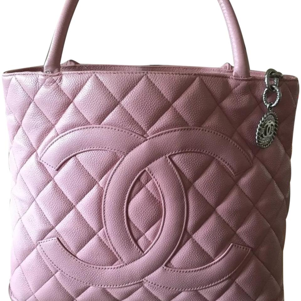 Chanel Pink Caviar Silver Medallion Tote