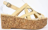 Chanel 15c Leather Cc Logo Cork Platform Slingback Beige Sandals