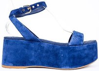 Chanel 15s Strappy Suede Blue Sandals